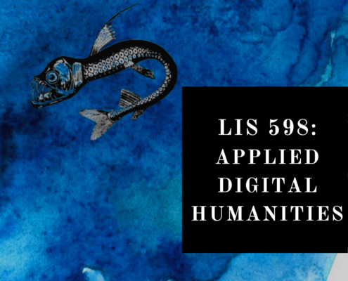 """blue watercolor with fish """"LIS 598: Applied Digital Humanities"""""""